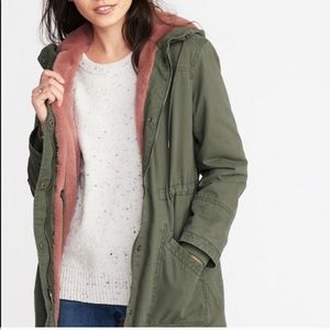 OLD NAVY | Utility Hooded Parka Pink Faux Fur